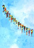 Painting of conical colorful kites Stock Photo