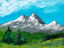 Acrylic painting shows a landscape in nature Royalty Free Stock Images