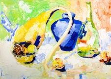 Acrylic painting still-life Royalty Free Stock Photos