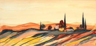 Acrylic painting of a strongly colored colorful Tuscan landscape with house, trees and cypresses with flowing paint, and drops. Acrylic painting of a strongly stock illustration
