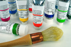 Acrylic painting tools Stock Photo
