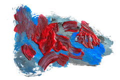 Acrylic paints background in blue and dark red tones. Abstract shapes and textures Stock Photography