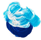 Acrylic paints background in blue tones. Abstract smudges and brush strokes Royalty Free Stock Image