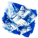 Acrylic paints background in blue tones. Abstract smudges and brush strokes Stock Images