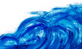 Acrylic paints background in blue tones. Abstract waves and sea theme Royalty Free Stock Images