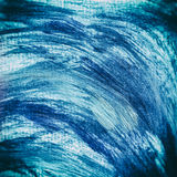 Acrylic paints background in blue tones. Abstract waves and sea theme Stock Photos