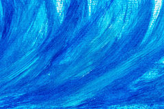 Acrylic paints background in blue tones. Abstract waves and sea theme Royalty Free Stock Photo