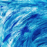 Acrylic paints background in blue tones. Abstract waves and sea theme Royalty Free Stock Image
