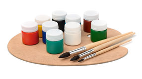Acrylic paints, brushes and pallet royalty free stock image