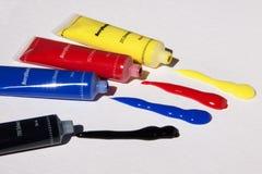 Acrylic Paints, Color, Basic Colors Stock Photo