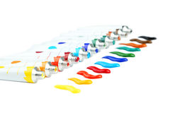 Acrylic paints. Colorful acrylic paints in tubes on white background royalty free stock photography