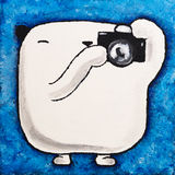 Acrylic picture white teddy bear Photographer Stock Images