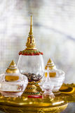 Acrylic relics casket with conch. Selective focus Royalty Free Stock Photos
