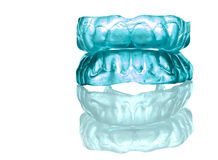 Acrylic - silicon denture-full front set. Blue silicone denture isolated on white Royalty Free Stock Photo