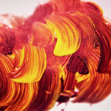 Acrylic texture and brush strokes which resembles to fire. Or sunset. Useful design elements Stock Photo