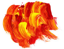 Acrylic texture and brush strokes which resembles to fire. Or sunset. Useful design elements Stock Image