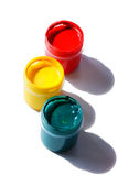 Acrylic traffic light. Tubes with acrylic paint organized as traffic light and isolated against white background royalty free stock photos