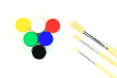 Acrylic Watercolours and paintbrushes - close-up Royalty Free Stock Photo