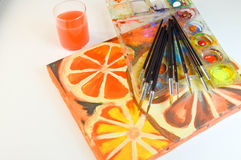 Acrylics крася на холсте Стоковое Изображение RF
