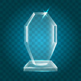 Acrylique vide brillant transparent Crystal Glass Trophy Aw de vecteur Images stock