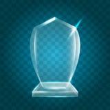 Acrylique vide brillant transparent Crystal Glass Trophy Aw de vecteur Image libre de droits