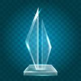 Acrylique vide brillant transparent Crystal Glass Trophy Aw de vecteur Photo libre de droits