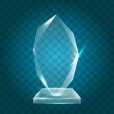 Acrylique vide brillant transparent Crystal Glass Trophy Aw de vecteur Photographie stock libre de droits