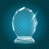 Acrylique vide brillant transparent Crystal Glass Trophy Aw de vecteur Photographie stock
