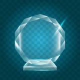 Acrylique vide brillant transparent Crystal Glass Trophy Aw de vecteur Image stock
