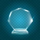 Acrylique vide brillant transparent Crystal Glass Trophy Aw de vecteur Photos libres de droits