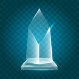 Acrylique vide brillant transparent Crystal Glass Trophy Aw de vecteur Photo stock