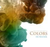Acrylkleuren en inkt in water Royalty-vrije Stock Foto's