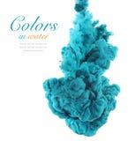 Acrylkleuren en inkt in water abstracte achtergrond Royalty-vrije Stock Afbeeldingen