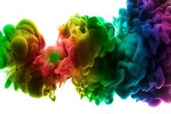 Acrylkleuren en inkt in water Abstracte frame achtergrond Geïsoleerd op wit Royalty-vrije Stock Afbeeldingen