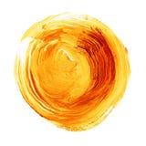 Acrylkreis lokalisiert auf weißem Hintergrund Gelb, orange runde Aquarellform für Text Element für unterschiedliches Design Stockbild