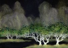 Acryllandschaft Empfindliche Bäume nahe dem Fluss Stockfotos