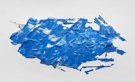 Acrylmalerei des blauen Aquarells mit Bürste an Stockfotos