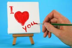 Acrylmalerei des kleinen Herzens auf Segeltuch Stockbild