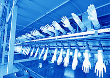 Acrylonitrile butadiene gloves production line in a factory, nor Royalty Free Stock Images