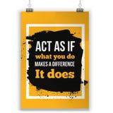 Actúe como si qué usted hace una diferencia Diseño tipográfico del cartel de motivación inspirado de la cita Imagenes de archivo