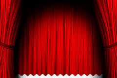 Act. Red theater stage background with curtain Stock Images