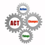 Act - action, changes, things in silver grey gears. Act, action, changes, things - text in 3d silver grey gearwheels, business motivate concept words Royalty Free Stock Photo