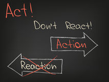 Act Dont React. Motivation words of success and luck Stock Image