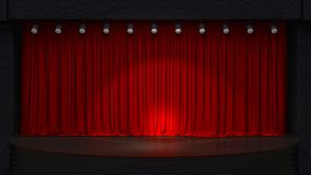 Act drape with red curtains. 3D rendering image stock photography