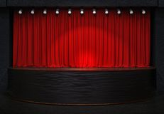 Act drape with red curtains. 3D rendering image royalty free illustration