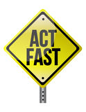Act fast yellow sign. Illustration design over a white background Royalty Free Stock Photos