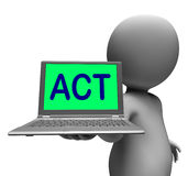 Act Laptop Character Shows Motivation Inspire Royalty Free Stock Images