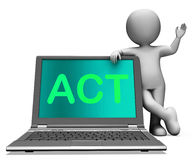 Act On Laptop Shows Motivation Inspire Or Performing Royalty Free Stock Photography