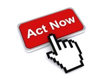 Act now 3D button. Act now red button with hand icon against a white background royalty free illustration