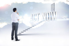 Act now against white steps leading to closed door Royalty Free Stock Photography